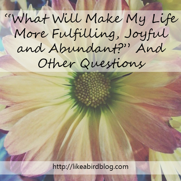 """What Will Make My Life More Fulfilling, Joyful and Abundant?"" And Other Questions"